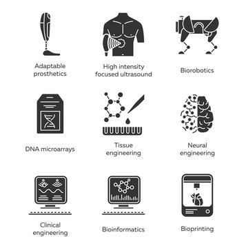 Bioengineering glyph icons set. Biotechnology for human health and comfort. Molecular biology, biomedical and molecular engineering, bioinformatics. Silhouette symbols. Vector isolated illustration