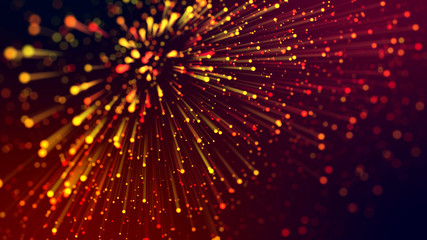 3d abstract beautiful background with colorful glowing particles, depth of field and bokeh effect. Abstract explosion of multicolored shiny particles or light rays like laser show. Wall mural
