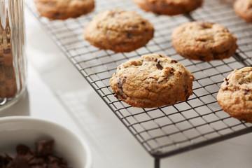 Macro of chocolate chip cookies.
