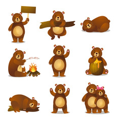 Cute funny cartoon set friendly bear in different activities