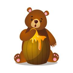 Keuken foto achterwand Beren Surprised cartoon brown grizzly bear with barrel of honey