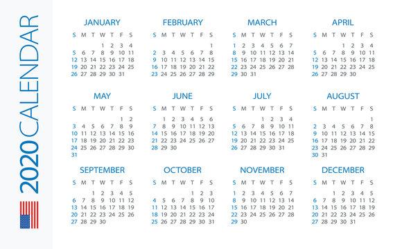 Calendar 2020 Horizontal - illustration. American version. Week starts on Sunday