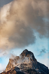 details of snowy mountains at sunset