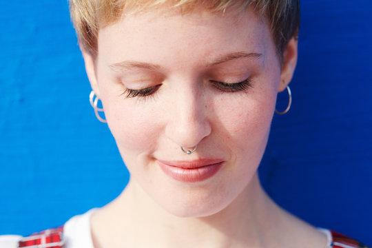 Beautiful modern woman in closeup