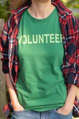 Woman in volunteer shirt