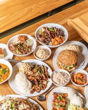 Hawaiian Food. Teriyaki, Pok?, Kimchi.