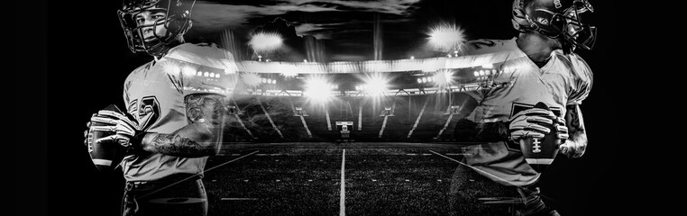 American football player in helmet, on the stadium field with ball in the hand. Dark background. Team sports. Black and whit sport wallpaper with double exposure. Fototapete