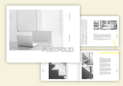 Landscape Business Portfolio Layout with Yellow Accents