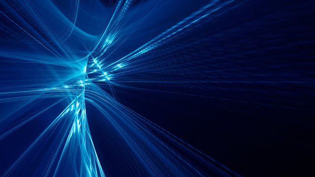 Abstract blue background element on black. Fractal graphics 3d Illustration. Three-dimensional composition of glowing lines and motion blur traces. Movement and innovation concept.