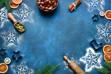 Christmas baking background. Top view with copy space.