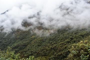 Beautiful misty mountain landscape along the Salkantay trek to Machu Picchu, Peru.