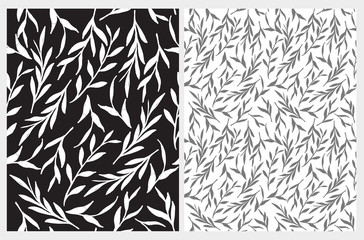 Simple Black and White Floral Vector Pattern. Abstract White and Gray Twigs Isolated on a Black and White Background. Modern Botanic Print Ideal for Fabric, Textile, Wrapping Paper, Decoration.
