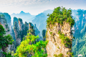 Spoed Foto op Canvas Beige Landscape of Zhangjiajie. Located in Wulingyuan Scenic and Historic Interest Area which was designated a UNESCO World Heritage Site in china.