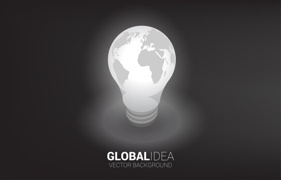 Silhouette of light bulb with world map around . Business Concept of global creative idea and solution.