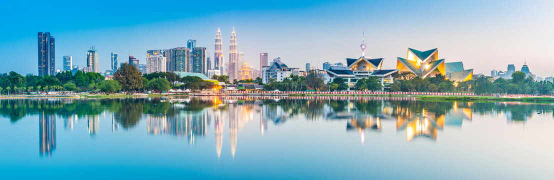 Kuala Lumpur skyline. Located in Taman Tasik Titiwangsa, Kuala Lumpur, Malaysia.