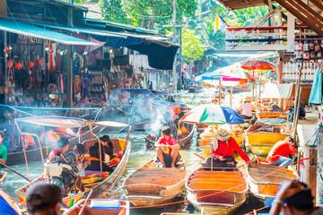Poster Bangkok Damnoen Saduak Floating Market, tourists visiting by boat, located in Bangkok, Thailand.