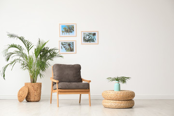Stylish living room interior with wooden armchair and plants near white wall. Space for text