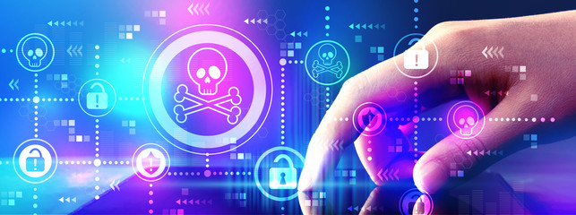 Virus and scam theme with hand pressing tablet computer screen