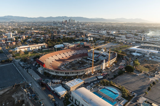 Aerial view of event preparations at the Los Angeles Memorial Coliseum in Exposition Park near USC Campus February 20, 2018 in Los Angeles, California, USA.