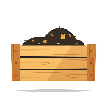Wooden compost bin vector isolated illustration