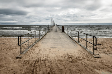 Frankston Pier on a cold, wintery day