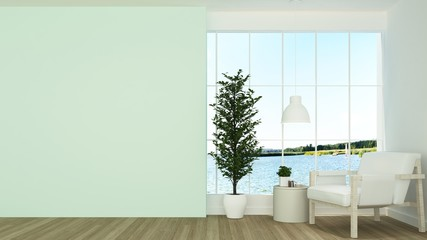Wall Mural - The interior minimal work space 3d rendering and nature view background