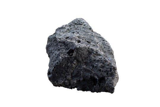 Basalt rock isolated on white background with clipping path.