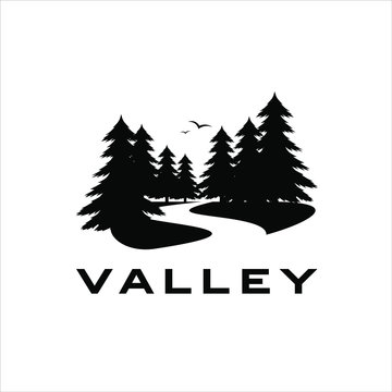 valley logo with black pine trees vector silhouette and river illustration
