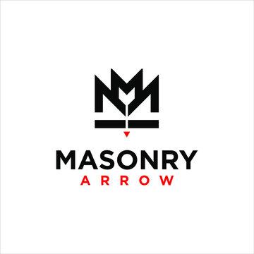 simple black crown masonry logo design idea