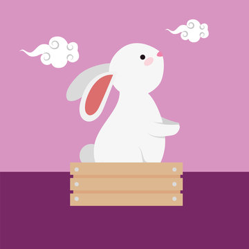 cute and little rabbit in wooden box character