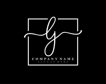 LJ Initial handwriting square minimalist logo vector