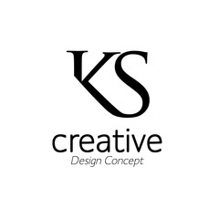 creative initial connected letters ks logo monogram style