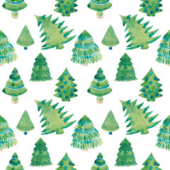 Watercolor illustration of Christmas tree seamless pattern Christmas and New year concept