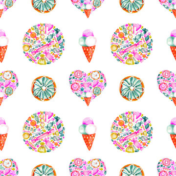 Seamless pattern watercolor hand painted sweet donuts and ice cream cone Print for fabric or scrapbook digital paper