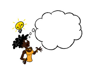 Black woman with thought bubble