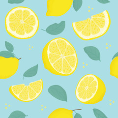 Lemon Citrus seamless pattern with leaves. Tropical background Vector bright print for fabric or wallpaper.
