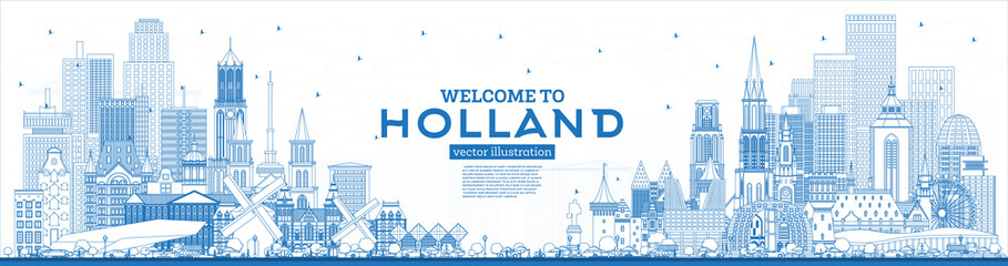 Foto auf AluDibond Rotterdam Outline Welcome to Netherlands Skyline with Blue Buildings.