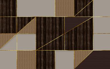 Geometryczna Abstrakcja ze złotymi liniami