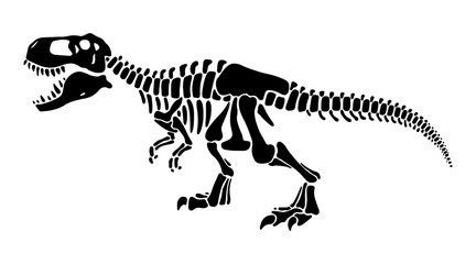 T rex dinosaur skeleton negative space silhouette illustration
