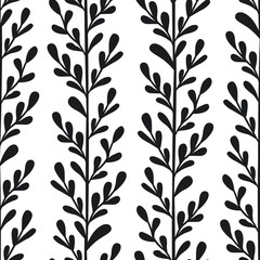 Vector floral seamless pattern with black vertical branches and leaves. Stylish texture for fabric, wallpaper, textile, web design.
