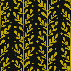 Vector floral seamless pattern with gold vertical branches and leaves. Stylish texture for fabric, wallpaper, textile, web design.