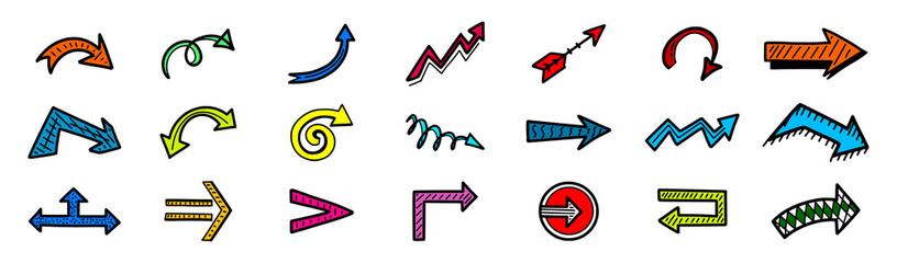 Set of hand drawn multicolored arrow icons, sketch direction, location, next, left right symbols and other Wall mural