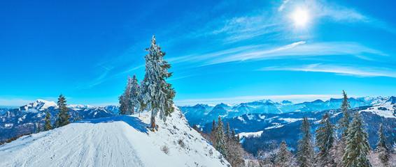 Panorama with Zwolferhorn peak, St Gilgen, Salzkammergut, Austria