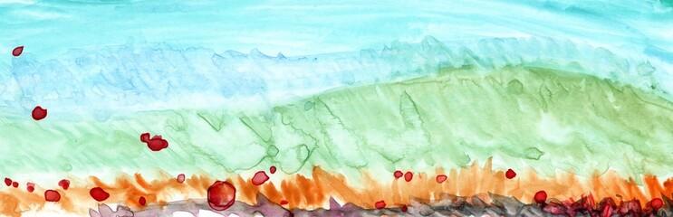 Printed kitchen splashbacks Light blue Hand Drawn Abstract Watercolor Landscape