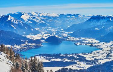 Blue surface of Wolfgangsee from Zwolferhorn, St Gilgen, Salzkammergut, Austria