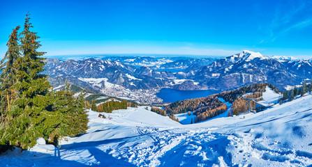 Panorama of Eastern Alpine Region,  Zwolferhorn, St Gilgen, Salzkammergut, Austria