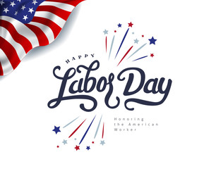 Happy labor day hand lettering  background banner template.Vector illustration .