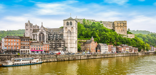Wall Mural - Panoramic river landscape view of Huy, Wallonia, Belgium.