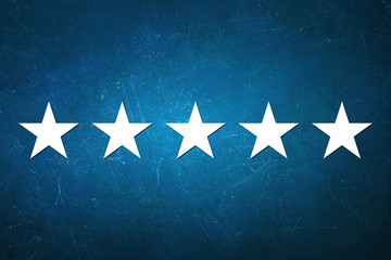 The best rating - Five star shape on blue pattern background
