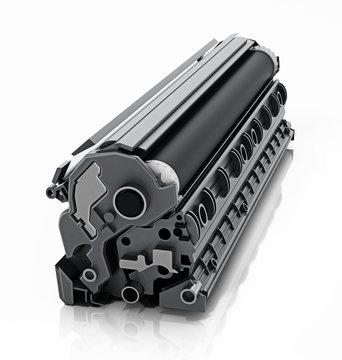 Black toner for laser printers isolated on white background. 3D illustration